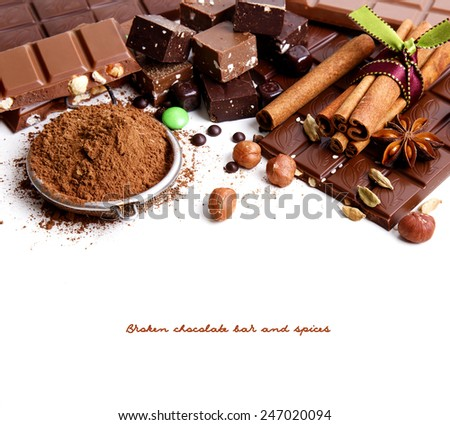 Chocolate bar and spices, isolated on white - stock photo