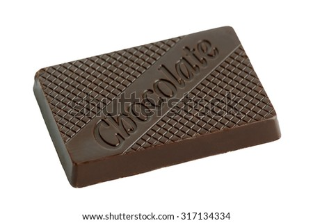 Chocolate bar closeup isolated on white background