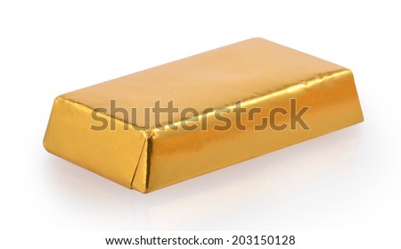 Chocolate Bar in foil - stock photo