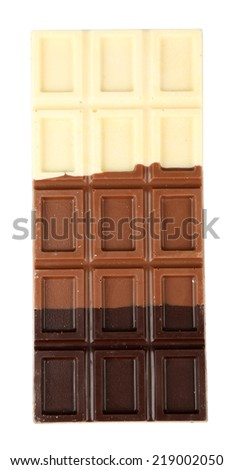 Chocolate bar isolated on white - stock photo