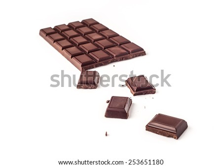 Chocolate bar isolated on white background - stock photo