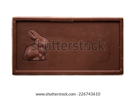 Chocolate bar with bunny - top view isolated on white background - stock photo