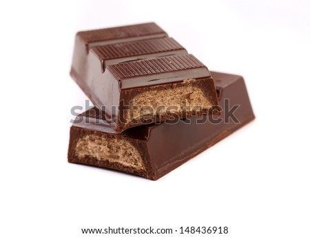 Chocolate bar with filling isolated on a white background