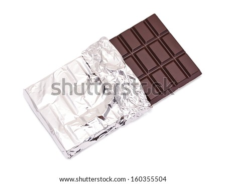 chocolate bar with open cover on white - stock photo