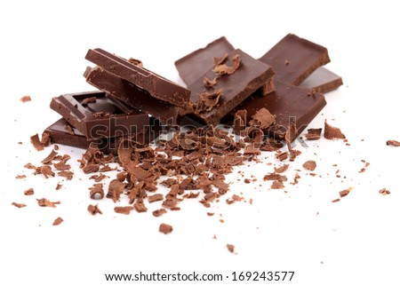 Chocolate bars and shaving.  Isolated on white background