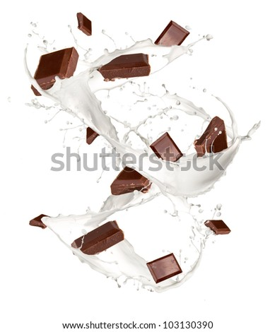 Chocolate bars in milk splash, isolated on white background - stock photo
