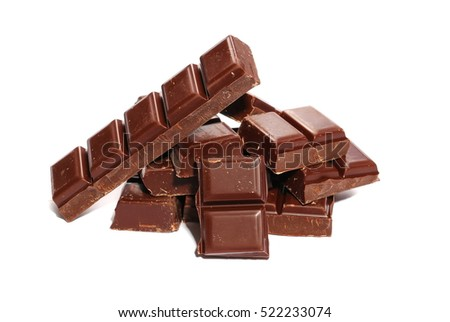 chocolate bars isolated on white background