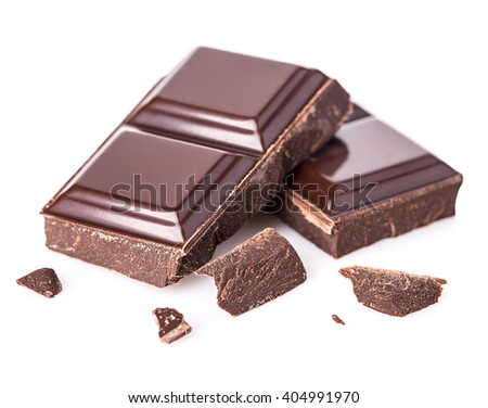 Chocolate bars isolated on white background. Selective focus. - stock photo