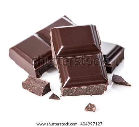 Chocolate bars isolated on white background. Selective focus.