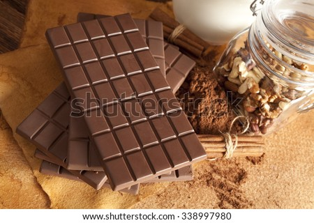 Chocolate bars, nuts, cinnamon, cocoa and milk - stock photo