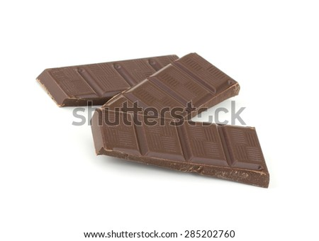 Chocolate bars stack isolated on white background