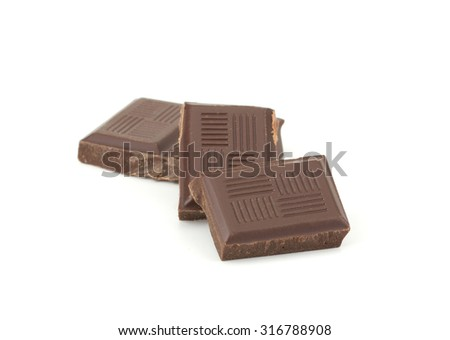 Chocolate bars stack isolated on white background - stock photo