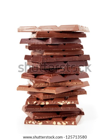 Chocolate bars stack  on a white background