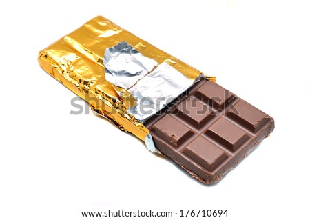 Chocolate bars stack over white background - stock photo