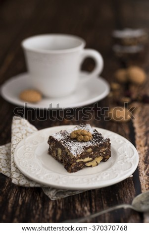 Chocolate bars with a cup of coffee - stock photo
