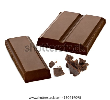 Chocolate Bars With Particles On White Background - stock photo