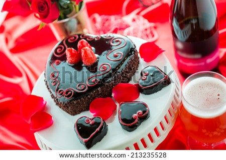 Chocolate beer and wine pairings. Flourless Cake with Raspberry beer for Valentines day.
