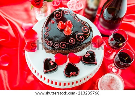 Chocolate beer and wine pairings. Flourless Cake with Zinfandel wine and  Raspberry beer for Valentines day. - stock photo