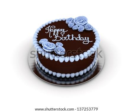Chocolate Birthday Cake Decorated Blue Ornaments Stock Illustration