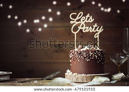 Chocolate Birthday Cake Party Setting Stock Photo Download Now