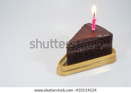 Chocolate Birthday Cake on white background