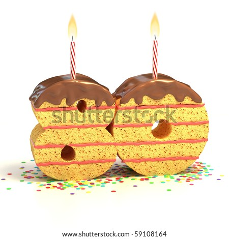 Chocolate birthday cake surrounded by confetti with lit candle for a eightieth birthday or anniversary celebration - stock photo