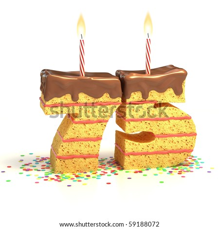 Chocolate birthday cake surrounded by confetti with lit candle for a seventy-fifth birthday or anniversary celebration
