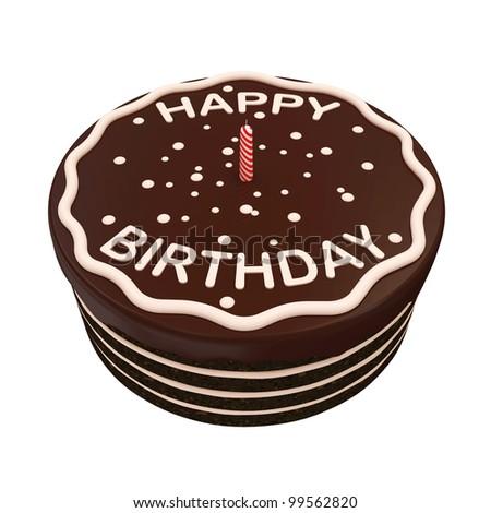 Chocolate Birthday Cake with Candle isolated on white background - stock photo