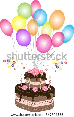 Chocolate Birthday Cake Chocolate Frosting Candles Stock