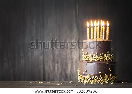 Chocolate Birthday Cake Gold Candles Stock Photo 582809236