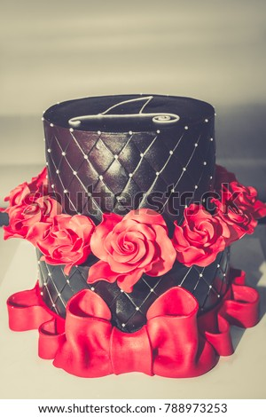 Chocolate Birthday Cake Red Roses Big Stock Photo Download Now
