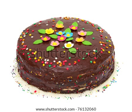 chocolate birthday  colorful cake with flowers and confetti - stock photo