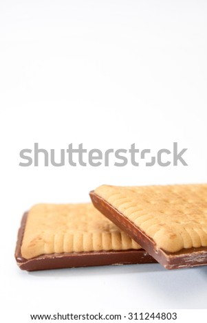 Chocolate biscuit cookie on a white background.