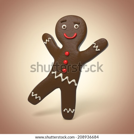 chocolate biscuit man, cute funny gingerbread man, 3d cartoon character - stock photo