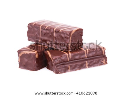 Chocolate biscuits isolated on white background. - stock photo