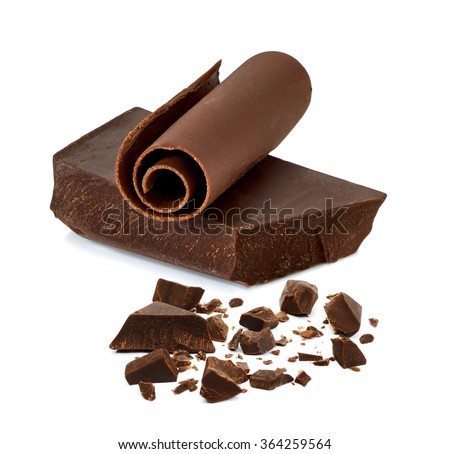 Chocolate block and curl on white background - stock photo