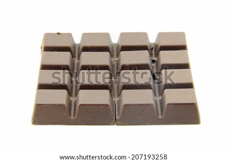 Chocolate block with cracks and have the dust capture placed on a white background.