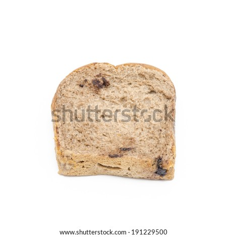Chocolate bread isolated on white background