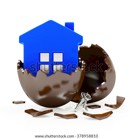 Chocolate broken Easter egg with blue house inside isolated on white  - stock photo