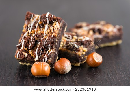 Chocolate brownie cake with nuts - stock photo