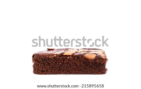 Chocolate brownie portions with hazelnuts Isolated On White background