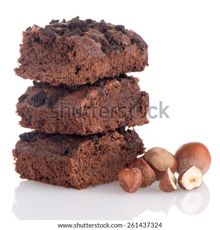 Chocolate brownies dessert on white background