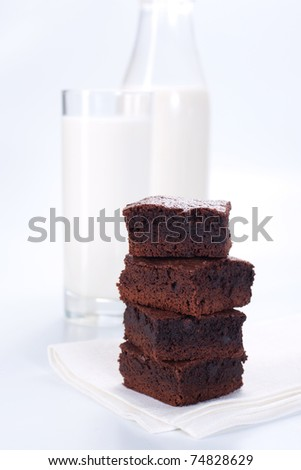 Chocolate brownies on white plate and glass of milk - stock photo