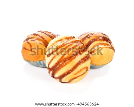 Chocolate bun isolated on white background