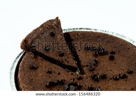 chocolate cake and chip isolated on a white background - stock photo