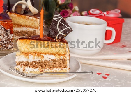 Chocolate cake and cup - stock photo