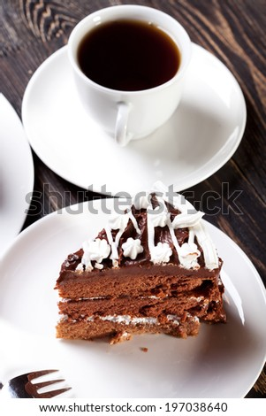 chocolate cake and cup of black tea