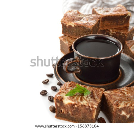 Chocolate cake brownies on a white background - stock photo