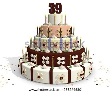 Chocolate cake - celebrating an anniversary - on top number thirty-nine - stock photo