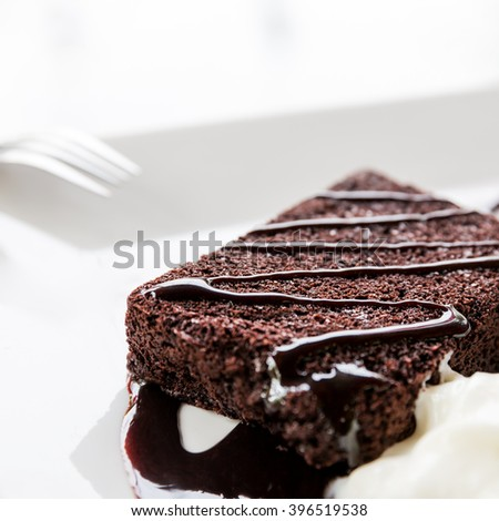 Chocolate cake dessert, Chocolate brownie and whipped cream